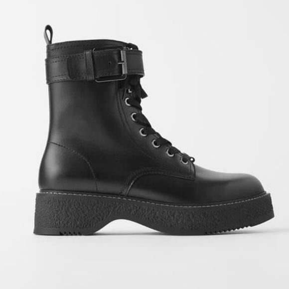 Zara Shoes | Zara Flat Leather Biker
